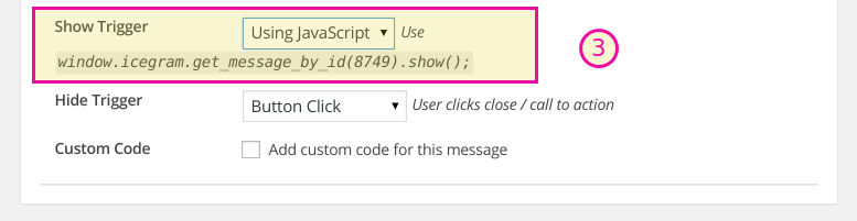 How to trigger Icegram messages on button or link click