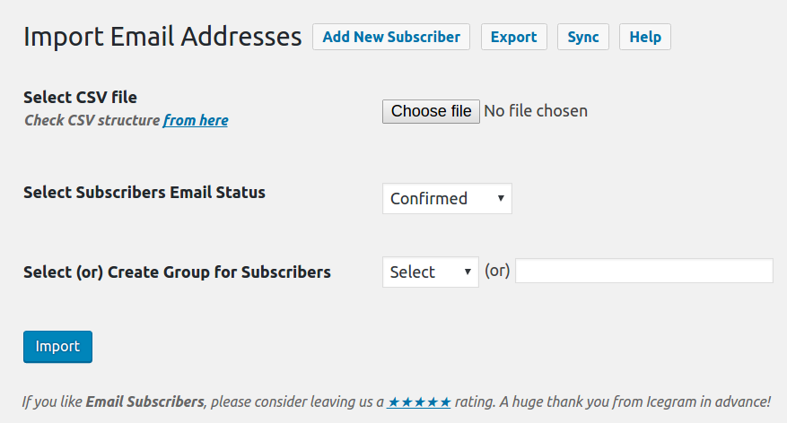 Import or Export Email Addresses