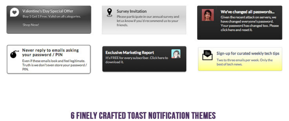 Icegram 6 free toast notification themes