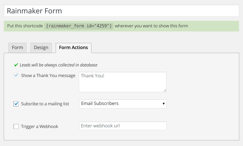 Choose Email Subscribers from the drop down of Mailing List