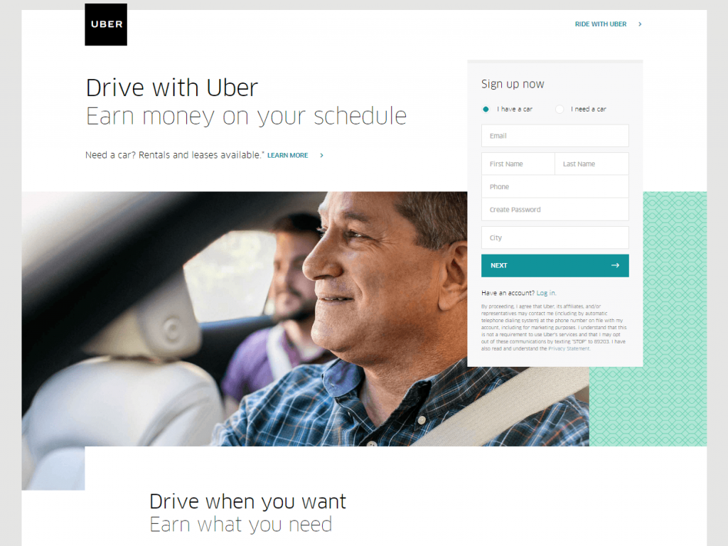 Uber squeeze page