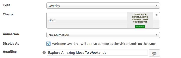 Welcome overlay