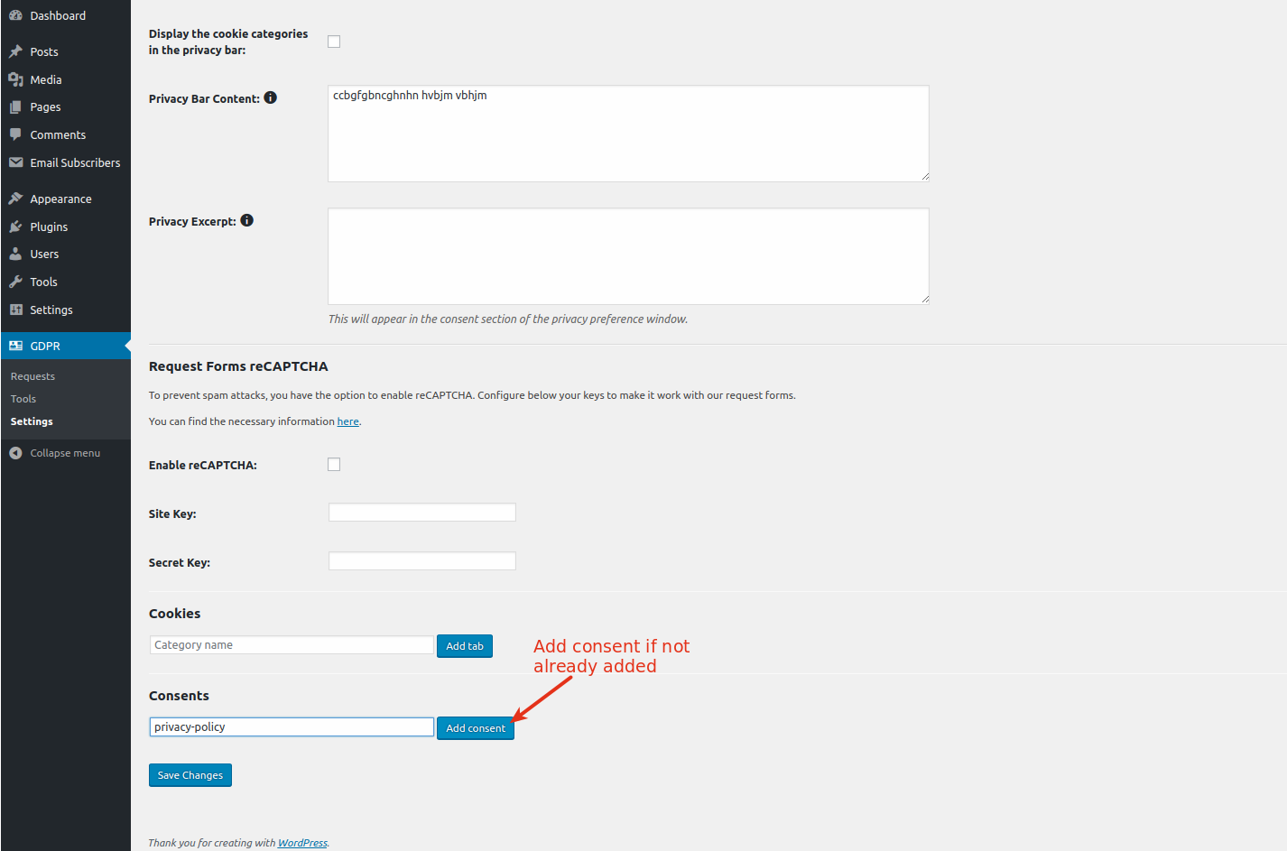 Consent Checkbox in the subscription form