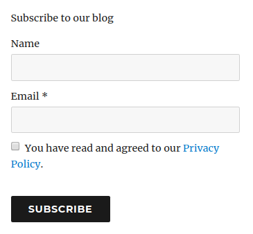 Consent Checkbox in the subscribe form