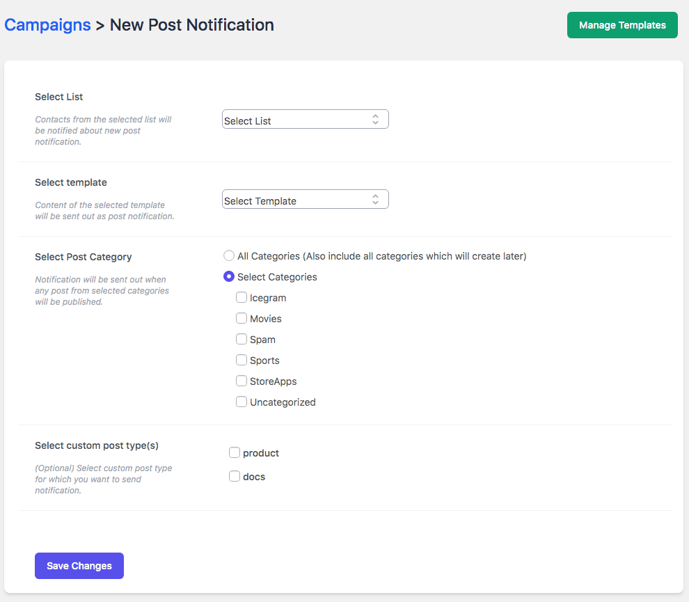 Email Subscribers > Campaigns > Create Post Notification