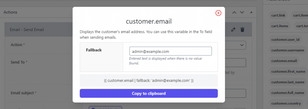 Personalization - Customer Email Placeholder