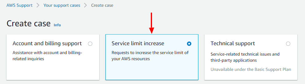 Select service limit increase