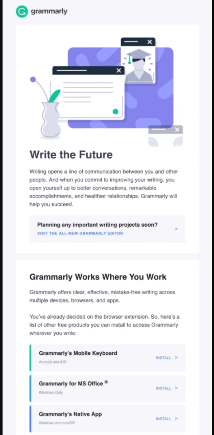 Grammarly email sequence
