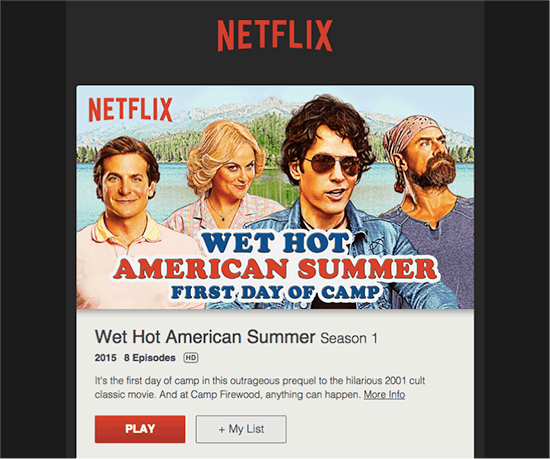 Netflix email sequence