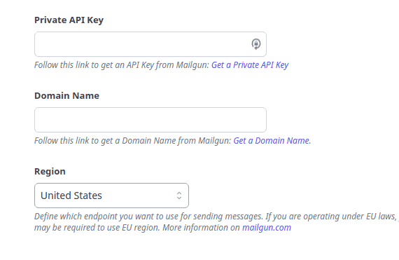 Mailgun API key and Domain Name
