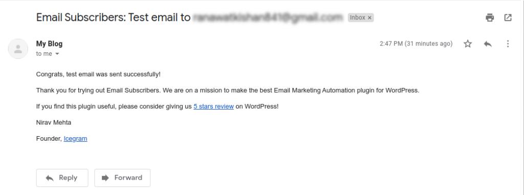 Test Email – Inbox