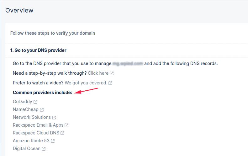 Steps to verify domain