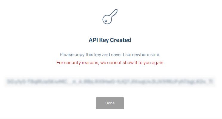 Generated API key