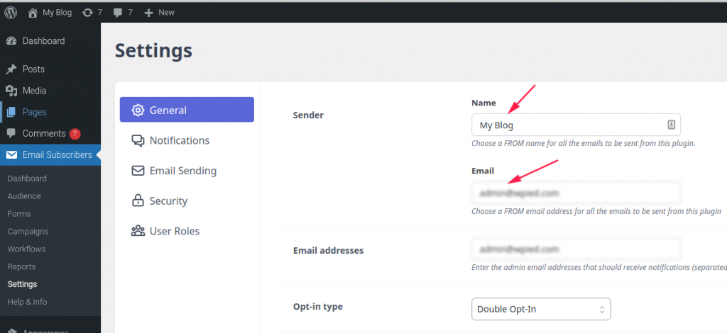 Email Subscribers General settings