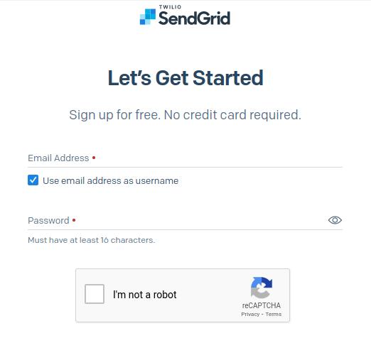 Create SendGrid account