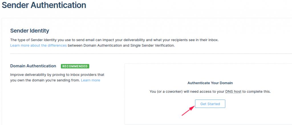 Start Domain authentication