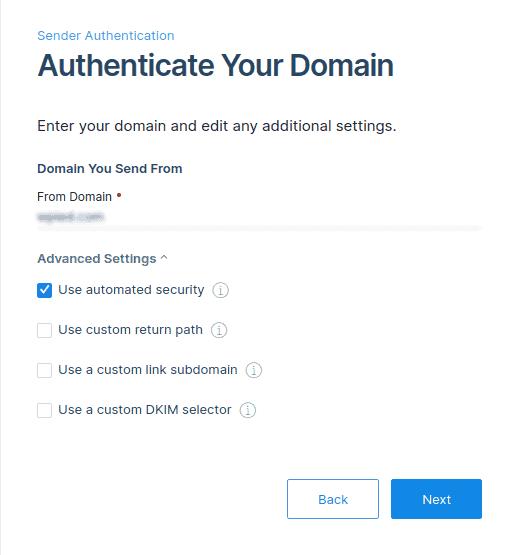 Domain authentication advance settings