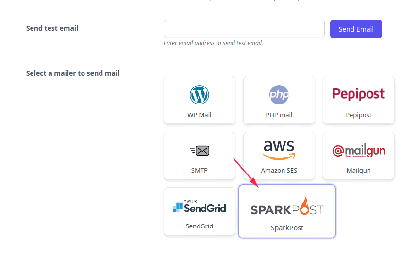 Select SparkPost Mailer