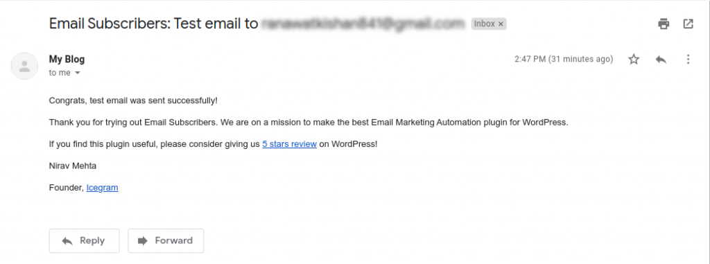 Test Email received in Inbox