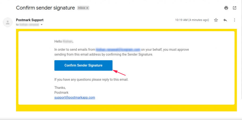 Confirmation Email for Sender signature