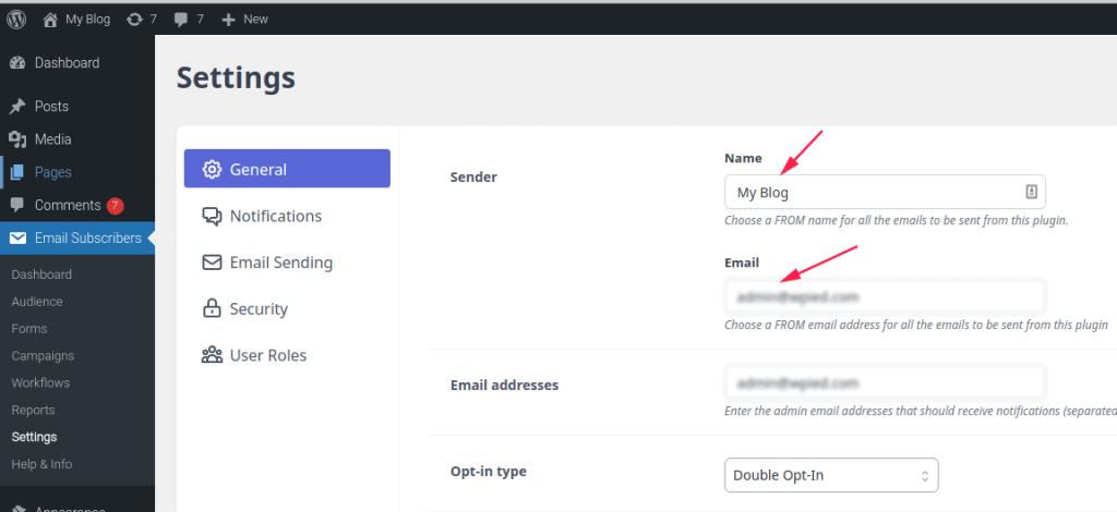 General settings - Sender information